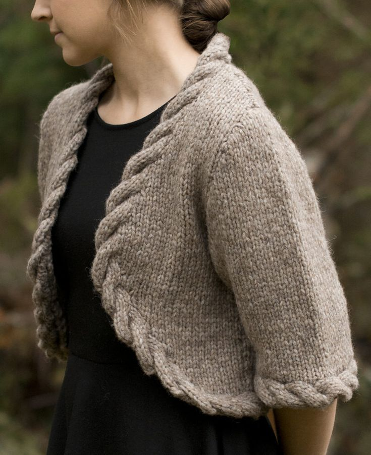 """Free Knitting Pattern for Cable Trimmed Bolero - Sizes 34"""" (36, 38, 40, 42)"""". Quick knit in bulky yarn. Designed by Susie Bonell for Cascade Yarns"""