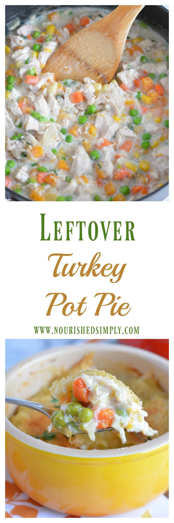 Use up leftover turkey in this quick and easy turkey pot pie recipe. It's loaded with veggies that you can grab right from your freezer. Don't let Thanksgiving leftovers go to waste! #thanksgiving via @nourishedsimply