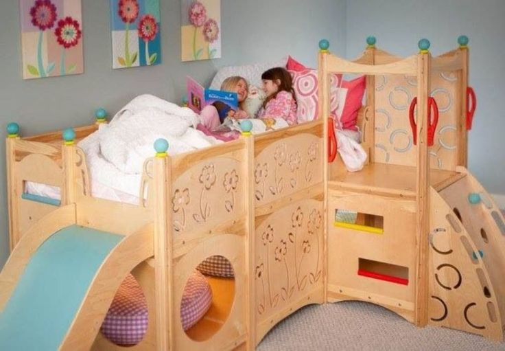 Girls Loft Bed with Slide - http://www.elenecassis.com/girls-loft-bed-with-slide/ : #GirlBeds Girls loft bed with slide – incredible cheap bunk beds with slide for kids are perfect for small children. Bunk with slides for children is a single piece of bedroom furniture that adds a playground to a bed space. The girls loft bed with slide carrying a princess theme. Princess beds are...