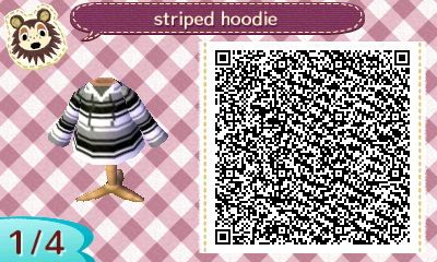 Acnl Qr Code Gray And Black Stripe Hoodie Acnl Aiden
