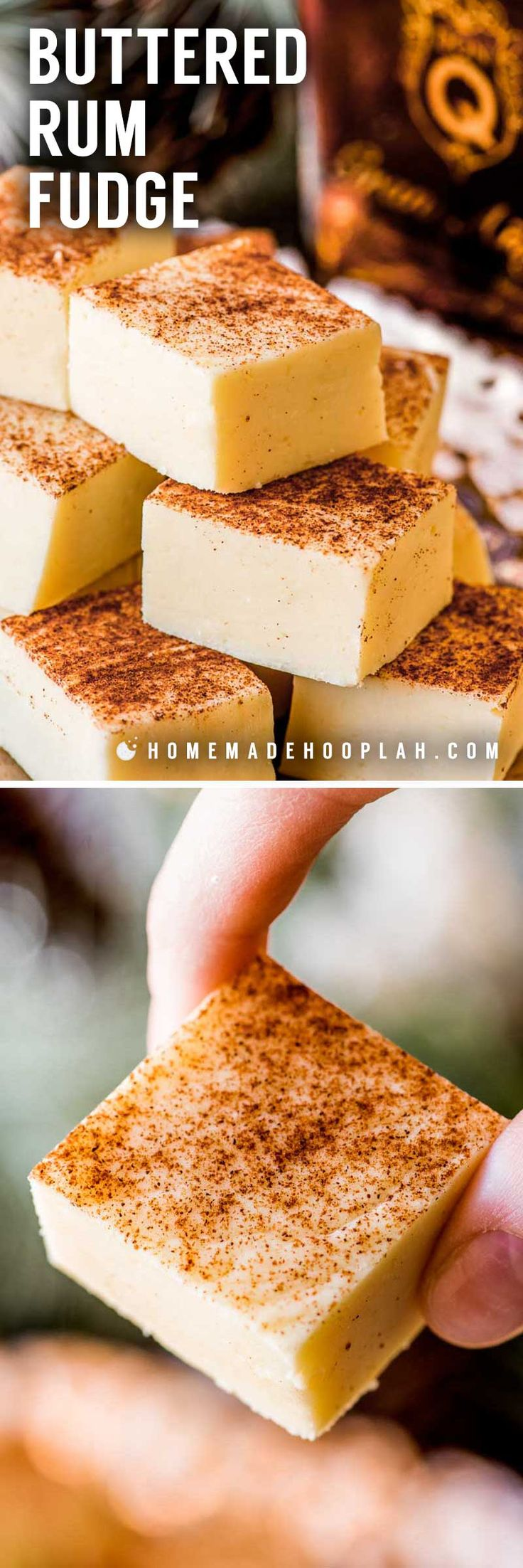 Buttered Rum Fudge! This white chocolate fudge is flavored with Don QGran Añejo, giving this rum fudge a taste of a classic hot buttered rum. Perfect for gifting! | #ad #Exceptional #DonQRum HomemadeHooplah.com