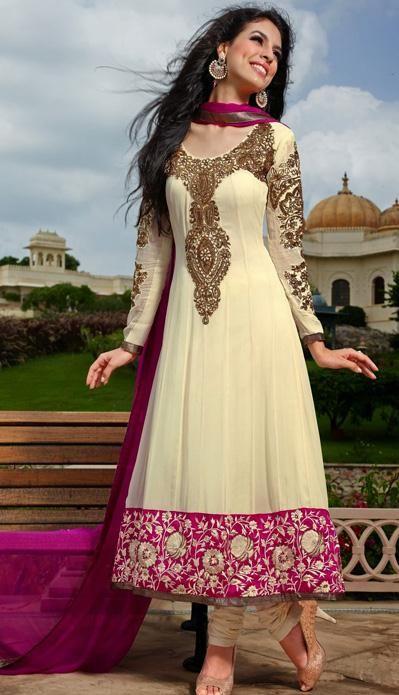 USD 147.31 Cream Georgette Embroidered Anarkali Salwar Suit 27249