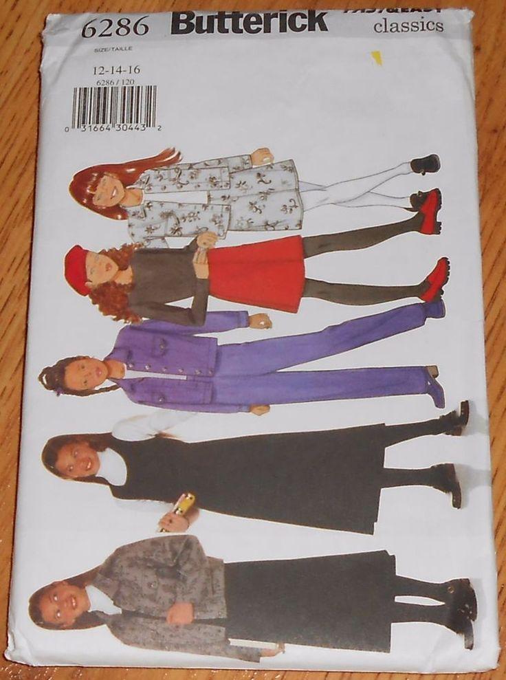 Butterick pattern 6286 girl teen jacket jumper skirt pants size 12 14 16 Uncut #Butterick