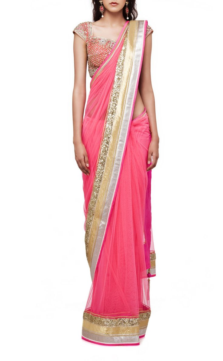 Pink color party wear saree – Panache Haute Couture