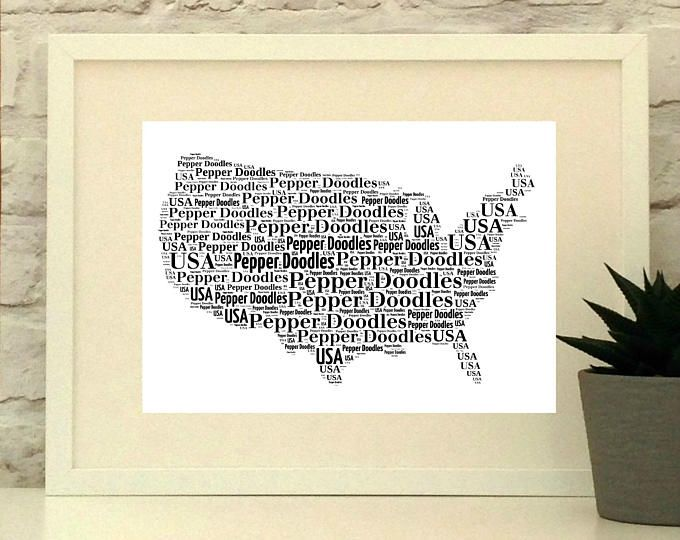 USA Personalised Print - USA Poster - Paper Anniversary - Country Picture - Map Art - Unframed Custom Print - America Poster - America Print