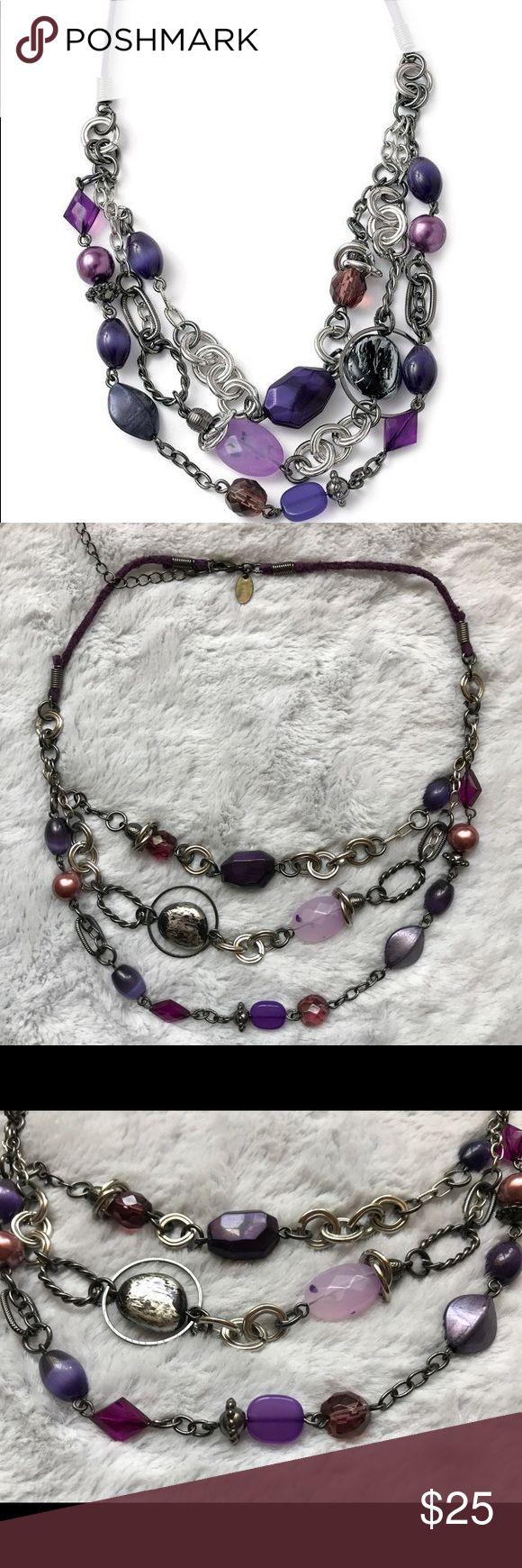 "Lia Sophia Purple Haze Necklace Lia Sophia Purple Haze Necklace. Glass Cat's Eye In Glass Stones In Purple Tones. Adjustable 16-19"" Long. Lia Sophia Jewelry Necklaces"