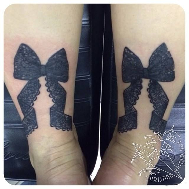 Lace Bow Tattoos On Wrist