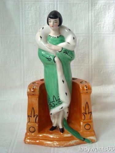 Art Deco Flapper Lady Half Doll Related Flower Frog Hat Pin Holder | eBay