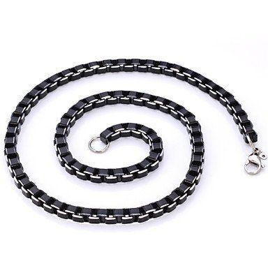 Cool+Black+Box+Chains+Aluminium+Alloy+Necklace
