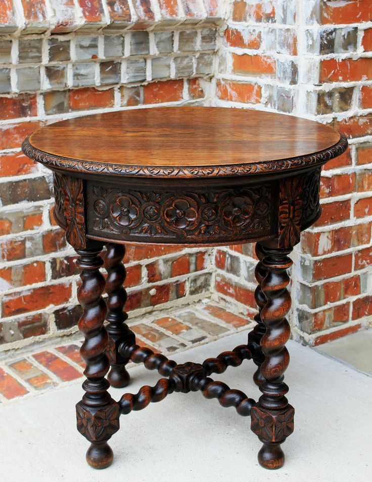 Vintage Entry Table Display ~ Antique french renaissance oak round barley twist end