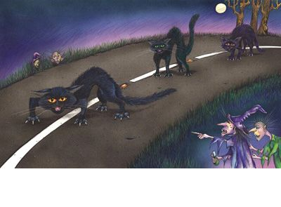 Signed limited edition print 'Cats' by Michele Dodd from picture book 'Cats, Bats & Witches Hats'. Available at Books Illustrated. http://www.booksillustrated.com.au/bi_prints_indiv.php?id=56&image_id=306