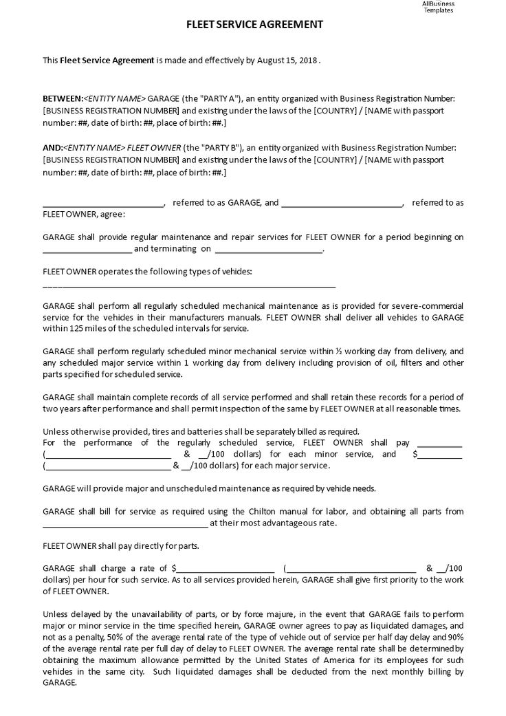 Fleet Service Agreement - How to write a Fleet Service Agreement - contract template between two parties