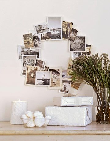 """Photo Wreath  To make your own photo arrangement, hot-glue a selection of black-and-white snapshots (use copies if you're worried about ruining the originals) to a wire wreath form. ($1.55 for 10"""" diameter; mainewreathco.com)"""