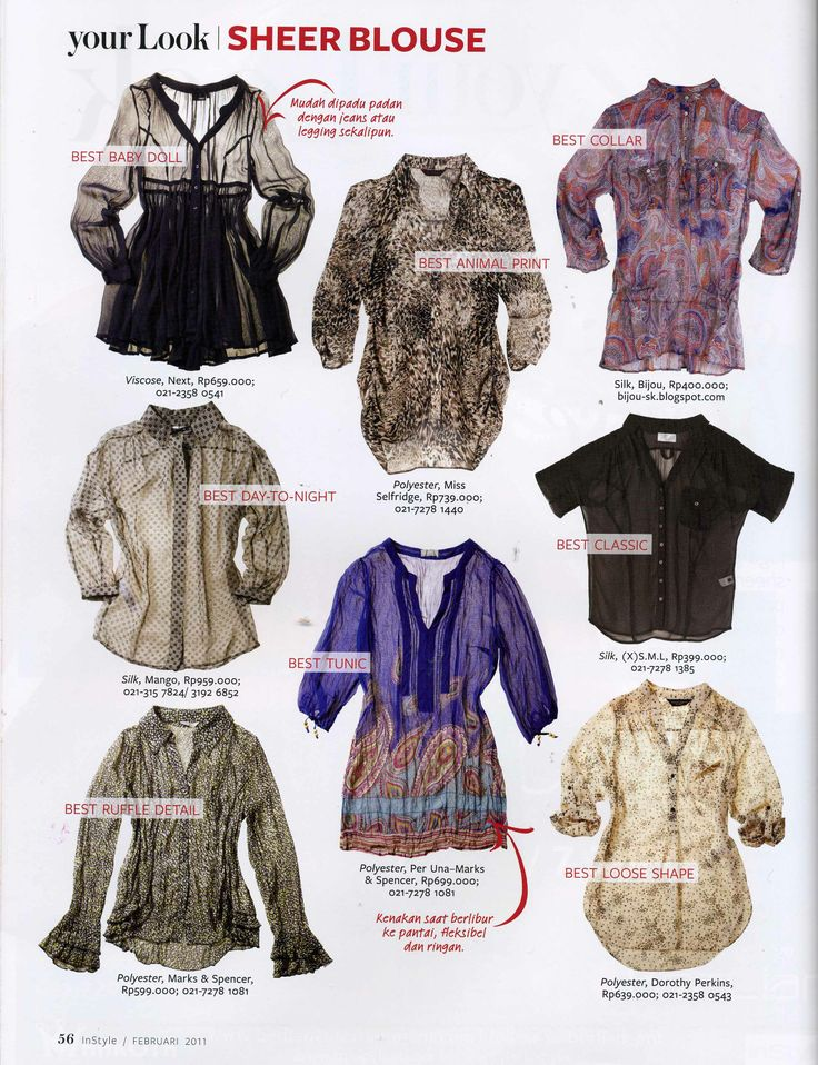 (X)S.M.L Silk Blouse is appeared on Sheer Blouse rubric Instyle Indonesia - February 2011