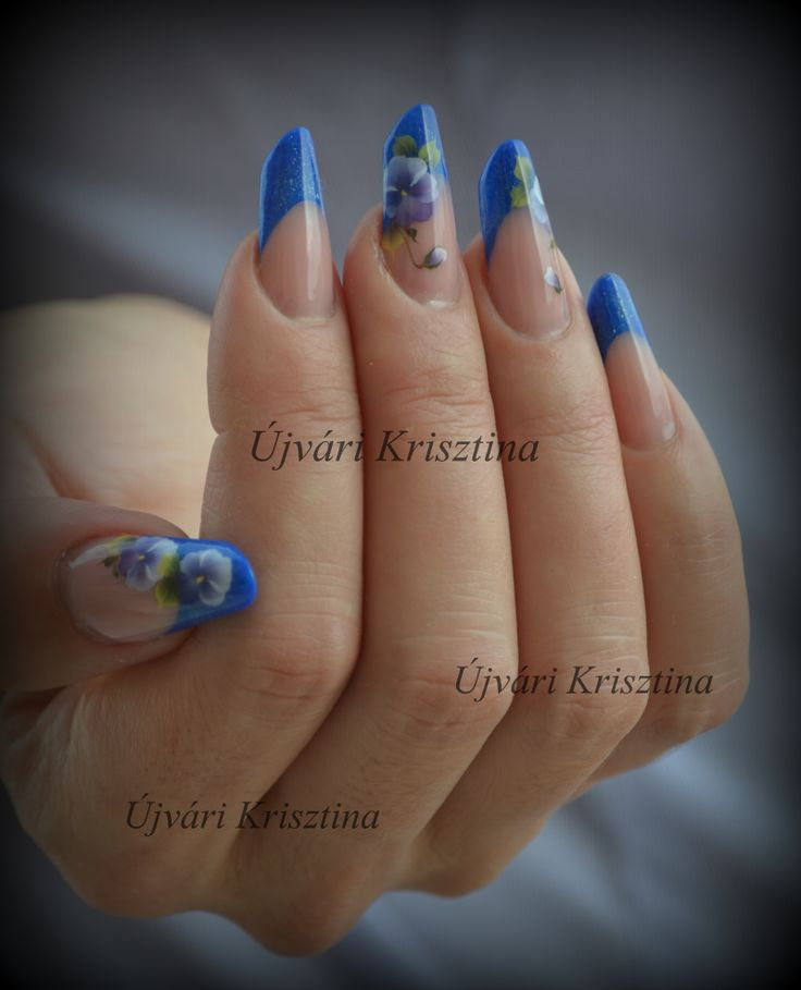 acrylic nails, russian almond form, handpainting