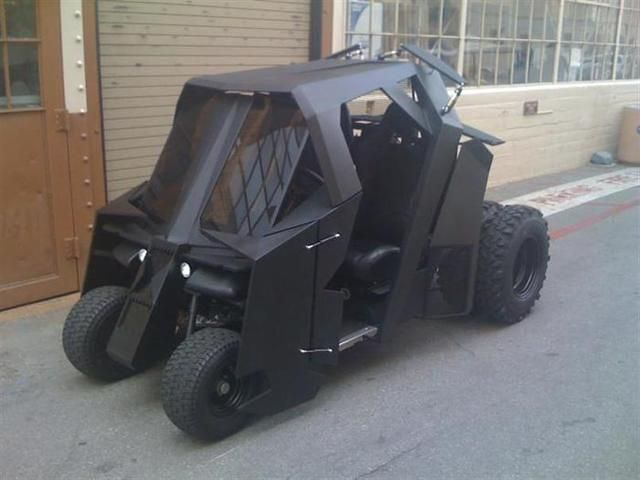 Batman Tumbler Made Out Of A Golf Cart! This is another interesting project that caught our attention. A stock EZ-Go Golf Cart became a golf machine Batman Tumbler, after over 30 000 dollars have been invested in it. The new vehicle has rear disk brakes and a 500 amperes controller.Batman Tumbler uses 28 inch Super Swamper tires,...