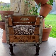 DIY pet bed out of wooden crates!