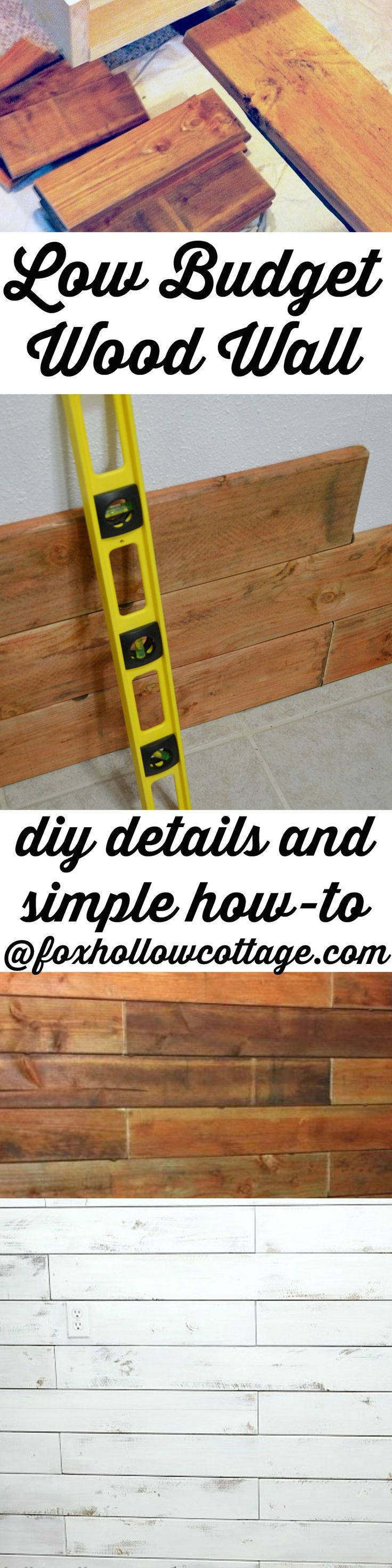 Low Budget DIY Wood Planked Wall How-To www.foxhollowcottage