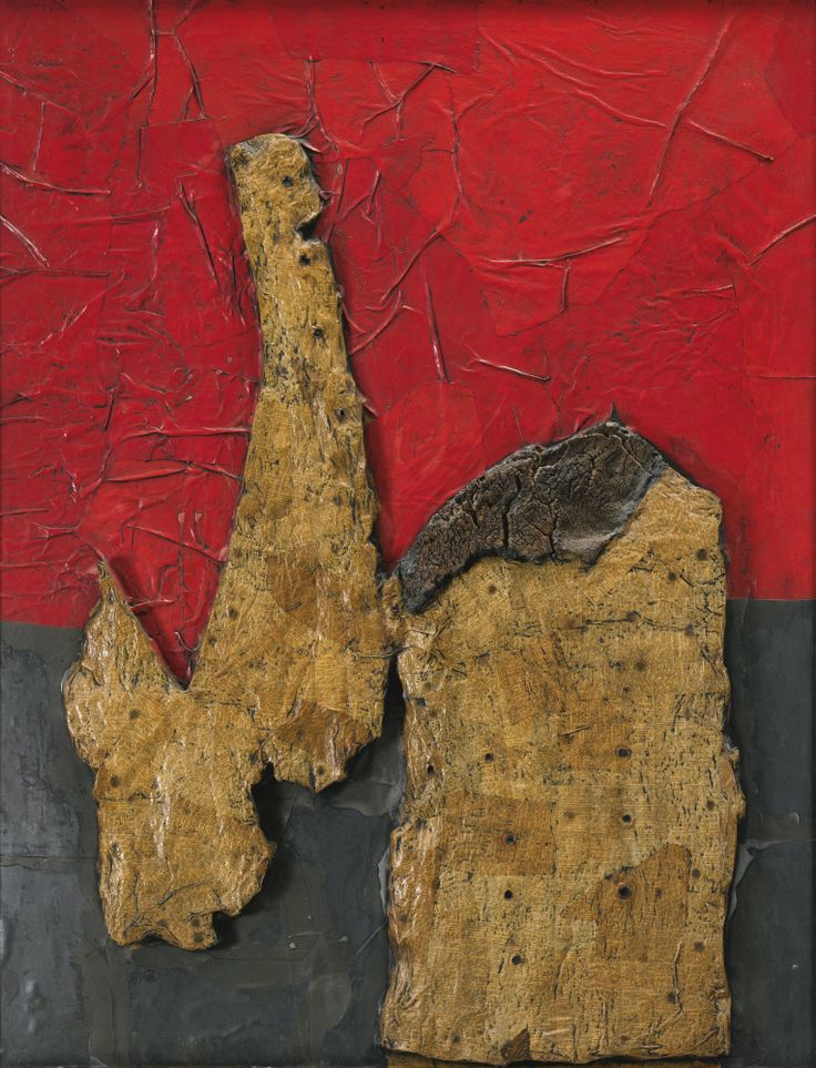 Roberto Crippa 1921-1972 COLLOQUIO SIGNED, TITLED AND DATED 1960 ON THE REVERSE, COLLAGE AND CORK ON BOARD