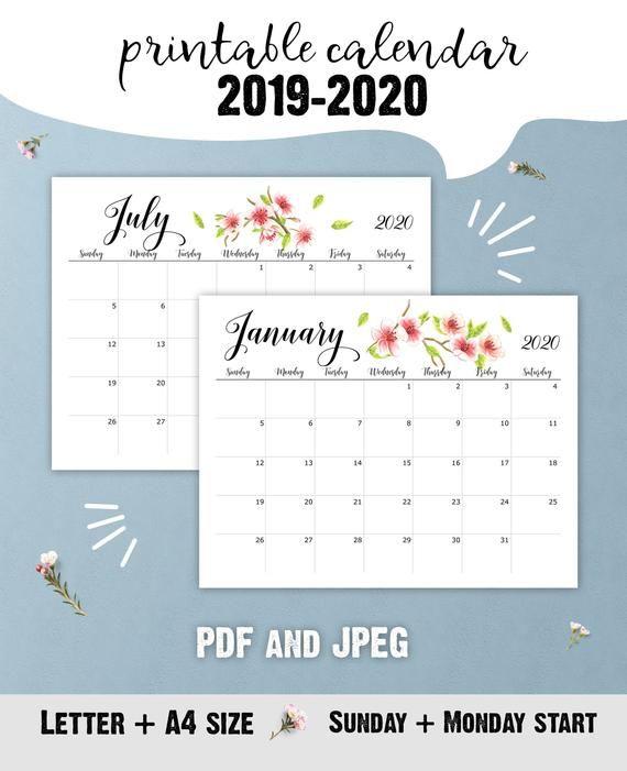 Printable 2020 Office Calendar Floral Desk Calendar For Teacher