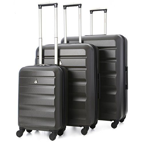 Aerolite Ultra Lightweight Carry On Hand Cabin Luggage Spinner Suitcase Travel Trolley With 4 Wheels (Cabin + 2nd Bag, Black)