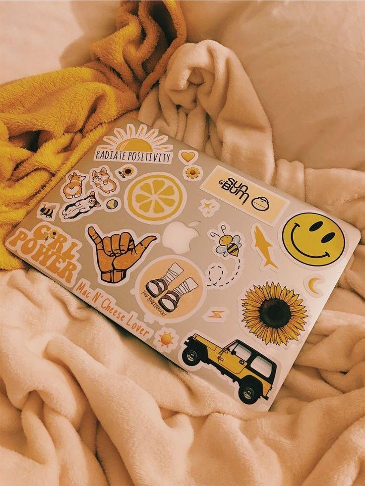 Macbook Sticker Deco Inspo Yellow Stickers Vsco