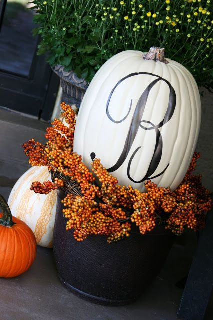 Might be cool to paint letters on some of the pumpkins to spell Latimer Lane.   Pumpkin monogram. So festive!