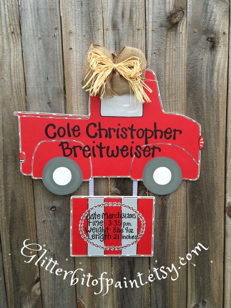Hospital Door Hanger with Birth Announcement Plaque, Baby Boy Door Hanger, Antique Truck Door Hanger by GlitterBitofPaint on Etsy https://www.etsy.com/listing/229401317/hospital-door-hanger-with-birth