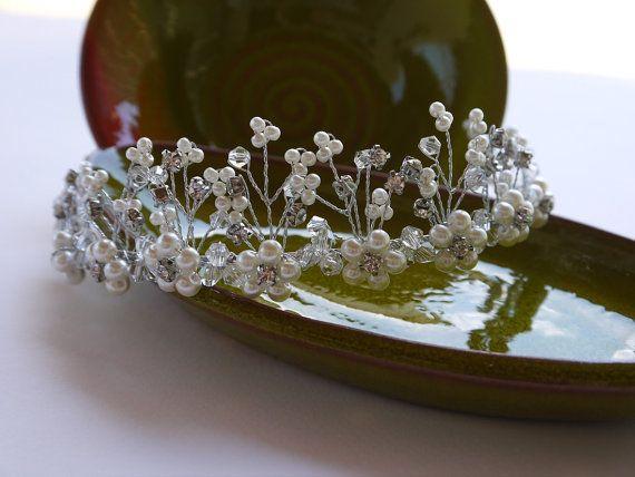 Bridal Pearl Tiara Wedding Pearl And Crystal by DesignByIrenne