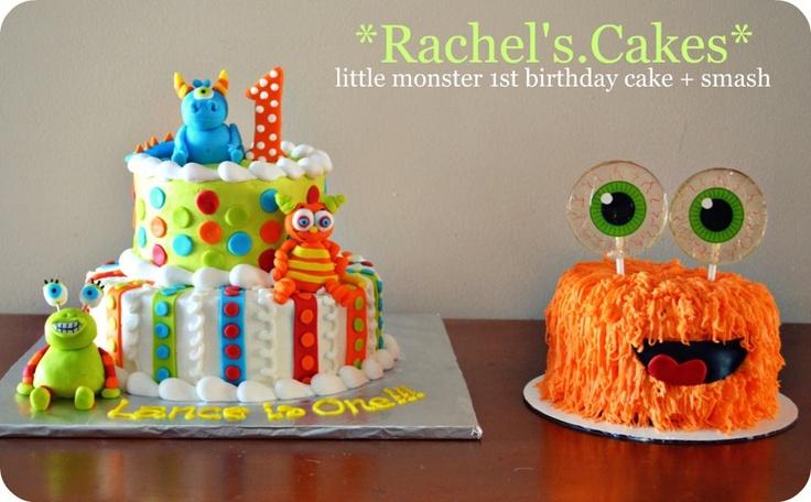 Little Monsters 1st Birthday Cake + shaggy monster smash cake!