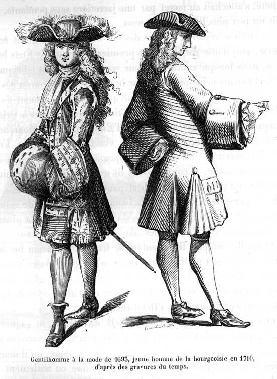 S XVII - Casaca con volantes en la abertura y mangas tekelie muy amplias. Lleva peluca inflolio con tocado tricornio.