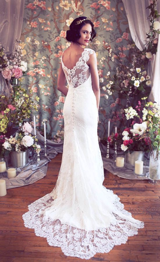 Cap Sleeved V neck Mermaid Lace Wedding Gown Low back by rschone, $2798.00