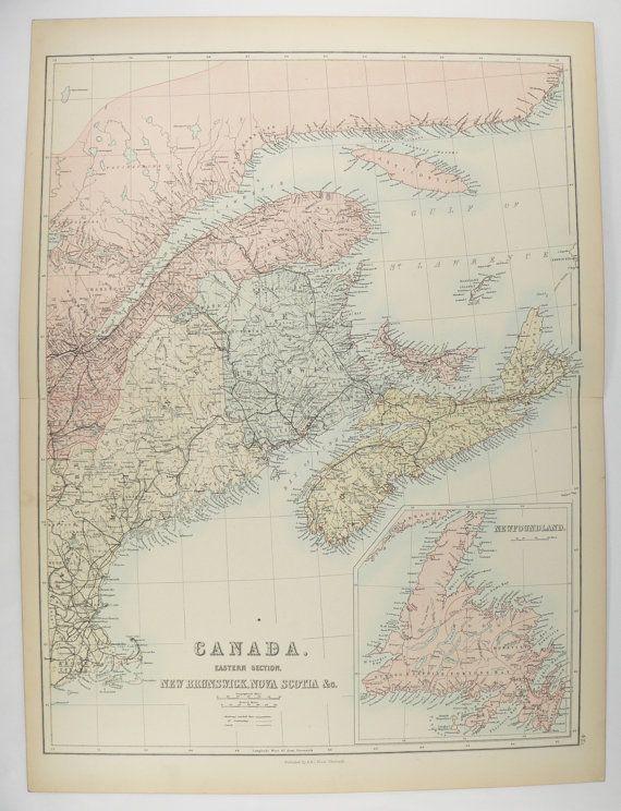 1884 Maritime Canada Map, 1884 A C Black Map East Canada, Nova Scotia Map New Brunswick, Newfoundland Map, Canada Gift for Family available from OldMapsandPrints.Etsy.com #MaritimeCanadaMap #OriginalAntiqueMapofCanada #UniqueCouplesGift