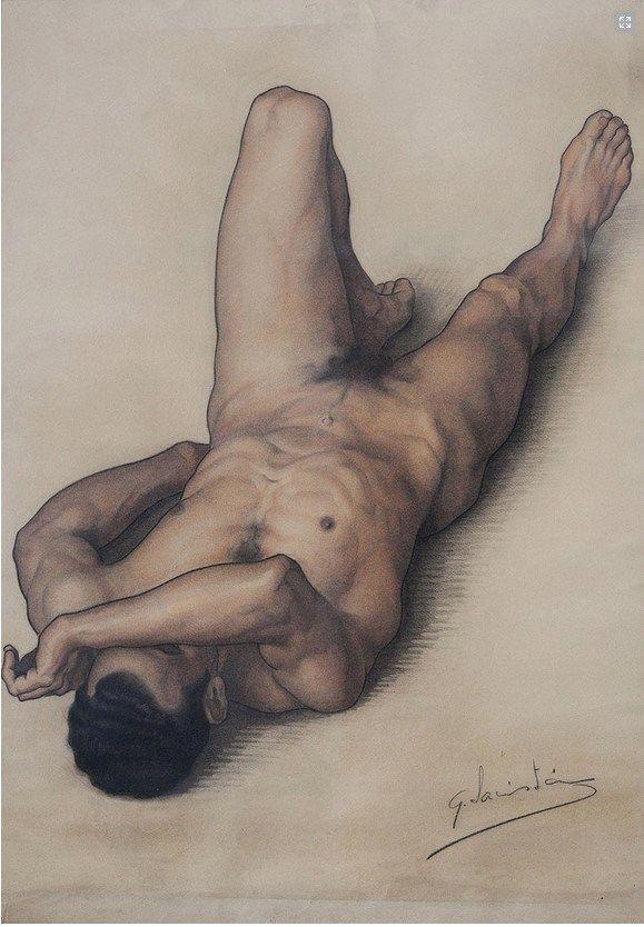 Gerardo Sacristan Torralba (1907-1964) Male nude drawing foreshortened