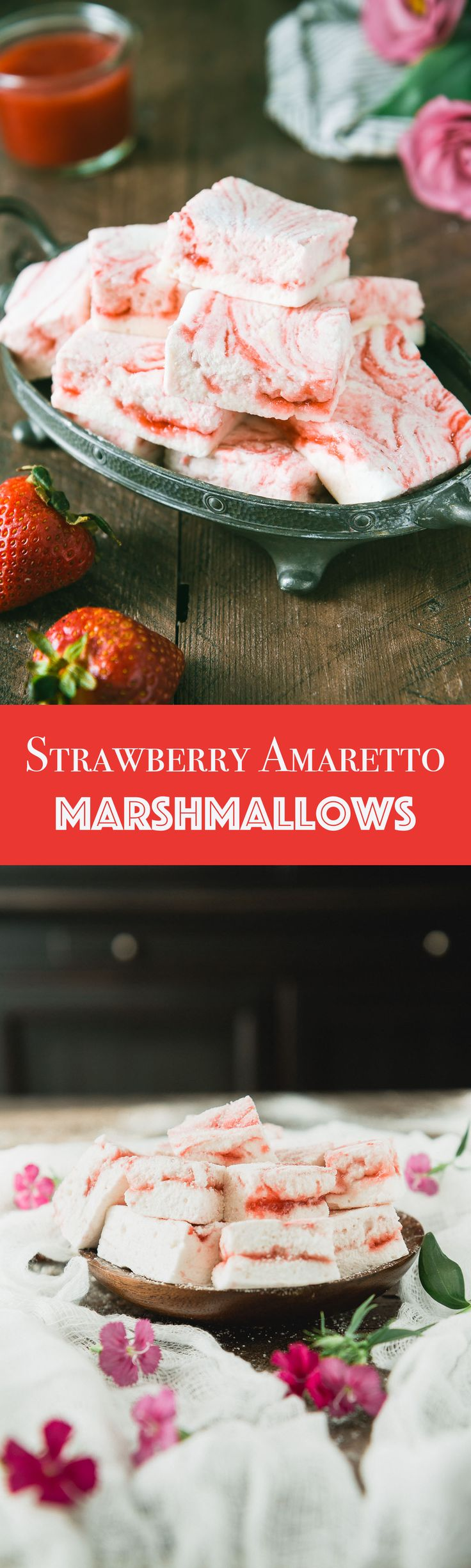 Strawberry Amaretto Marshmallows - These pillowy, melt in your mouth marshmallows get a sophisticated edge with strawberry puree complimented with hints of sweet almond from Amaretto.
