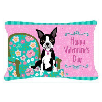 Carolines Treasures Happy Valentines Day Boston Terrier Decorative Outdoor Pillow - Pink - VHA3001PW1216