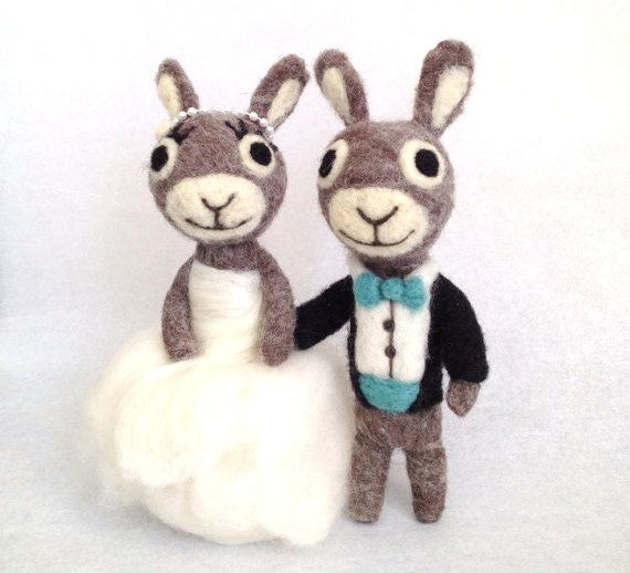 The Mason Jar Blue Bunnies - Antique Turquoise Wedding Cake Topper - Sea Green - Wedding Dress - Grooms Tuxedo www.adorawools.com on Etsy, $150.00