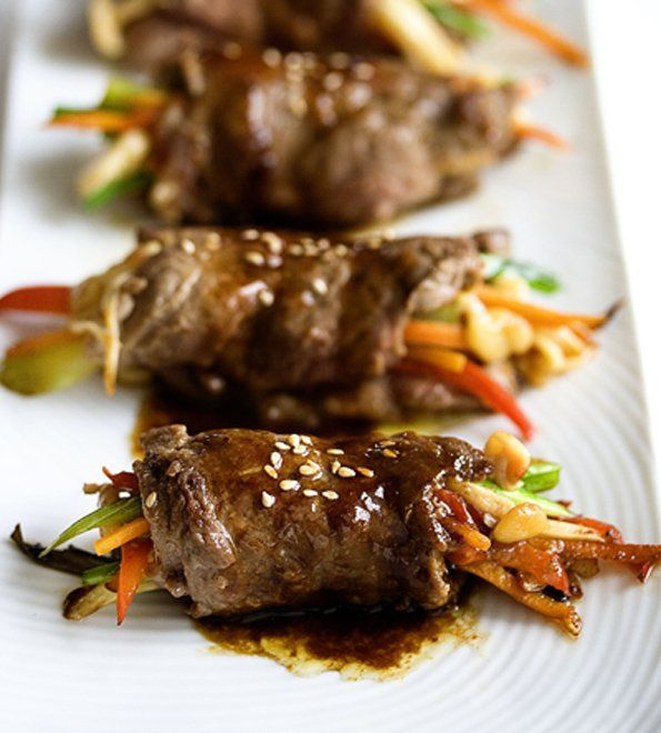 This looks so delicious! Make it extra healthy with grass fed beef and organic veggies  -- Pan Seared Steak Rolls ~ http://steamykitchen.com