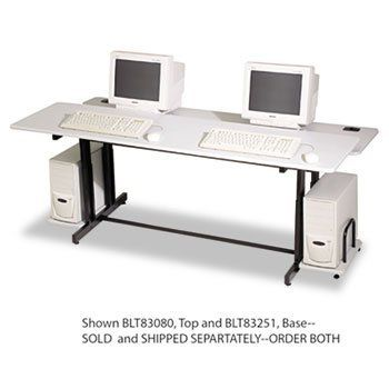 Split-Level Computer Training Table, 72w x 36d x 33h, Gray (Box Two) by Balt. $240.47. Versatile split-level design allows table to be configured in several ways. Gray laminate surfaces with black powder coated steel frame base. Leveling glides included. Monitor shelf 72 x 17
