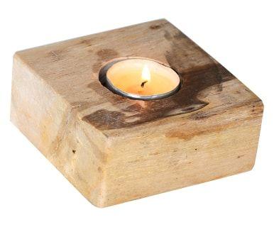 Porta tealight in legno pietrificato Simba, 10x5x10 cm