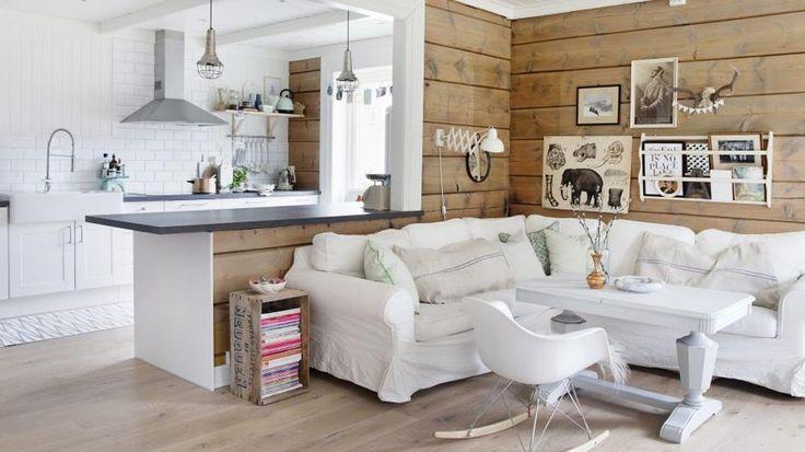 Cuisine ouverte salon style scandinave bois blanc