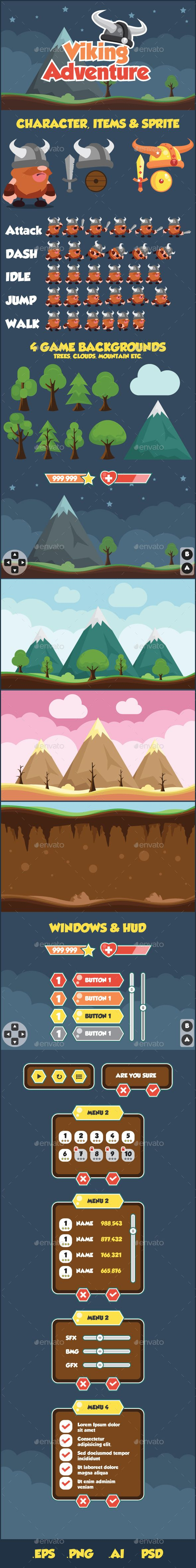 Viking Adventure Sidescroller Game UI | GraphicRiver