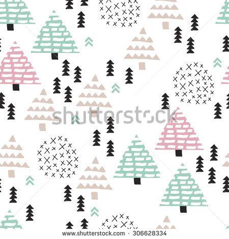 ベクトルでシームレスなスカンジナビアスタイルのイラスト林木クリスマステーマの背景、ソフトブルー、ピンクのパターン