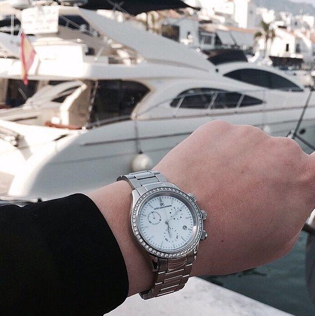 Royal Steel Chronograph 35,5mm steel bracelet with diamond bezel in Spain #sjöösandstrom #sjoosandstrom #spain  #watch #watches #worldtour #diamonds #yacht