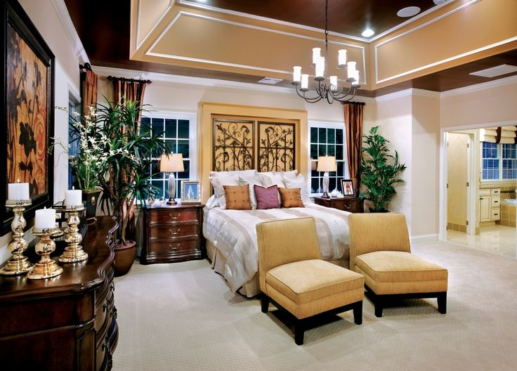 Traditional Master Bedroom With Chandelier Crown Molding High Ceiling Carpet
