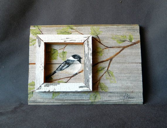 Distressed barnwood Hand painted Bird with by TheWhiteBirchStudio