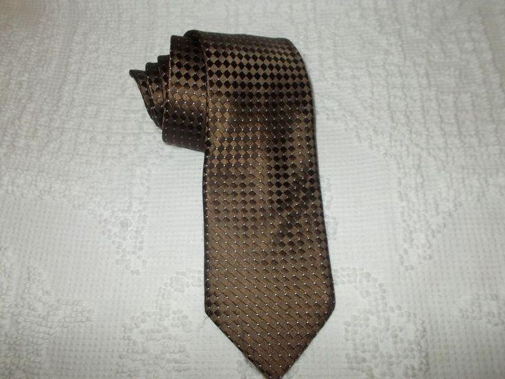 Donald J Trump Signature Collection Neck Tie Brown Geometric Print 100% Silk  #DonaldJTrump #Tie