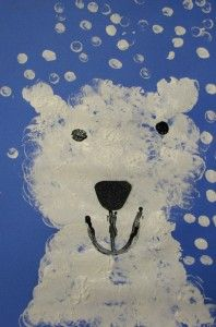 Kindergarten Polar Bear- Use big and small marshmallows as stamps. Draw outline with paper plate face and half circle ears.
