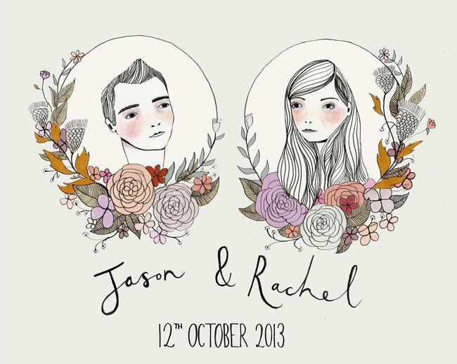 illustrated wedding invites
