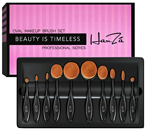 Makeup Brushes by HanZá - 10 PIECE Professional Oval Makeup Brush Sets For Powder, Blush, Foundation, Concealer, Eyeliner, Eye Shadow, Etc. Easily Blends and Contours Cosmetics. For product & price info go to:  https://beautyworld.today/products/makeup-brushes-by-hanza-10-piece-professional-oval-makeup-brush-sets-for-powder-blush-foundation-concealer-eyeliner-eye-shadow-etc-easily-blends-and-contours-cosmetics/
